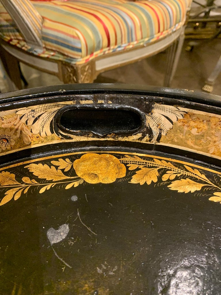 19th Century Neoclassical Gilt Decorated Tray Coffee Table with Custom Base For Sale 2