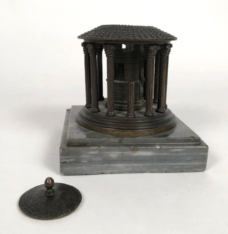 19th Century Neoclassical Grand Tour Bronze Model of the Temple of Vesta, Rome In Good Condition For Sale In Essex, MA