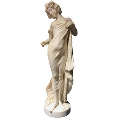 19th Century Neoclassical Italian White Marble Sculpture of Nymph