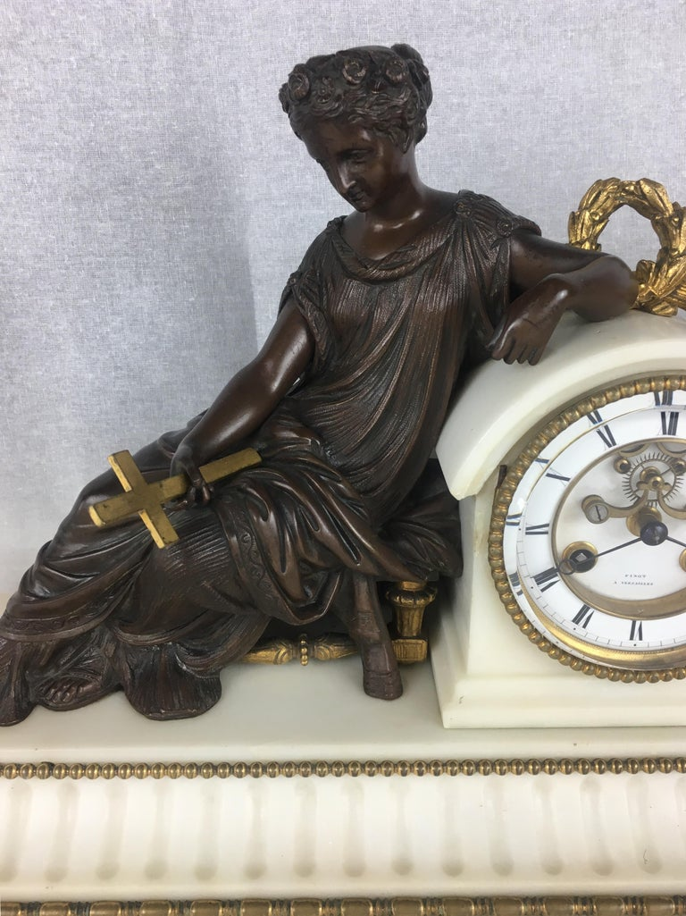 Napoleon III 19th Century Neoclassical French Marble and Gilded Bronze Mantel Clock For Sale