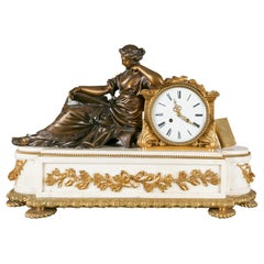19th Century Neoclassical Marble and Gilt Bronze Figural Mantle Clock