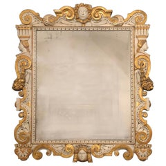 19th Century Neoclassical Mirror Carved and Giltwood, Italy, Late 1800s