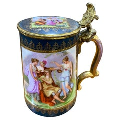 19th Century Neoclassical Painted Royal Vienna Porcelain Tankard Bronze, 1890s