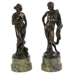 19th Century Neoclassical Pair of Bronzes Depicting Capitoline Venus and Apollo