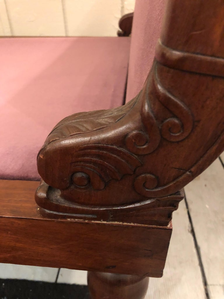 19th Century Neoclassical Parisian Aubergine Velvet Daybed Chaise Recamier For Sale 1