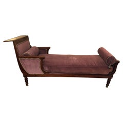 19th Century Neoclassical Parisian Aubergine Velvet Daybed Chaise Recamier