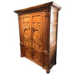 19th Century Neoclassical Revival Irish Golden Pine Cabinet