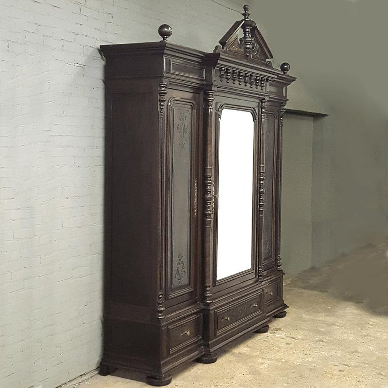 Late 19th Century 19th Century Neoclassical Revival Three-Door Armoire For Sale