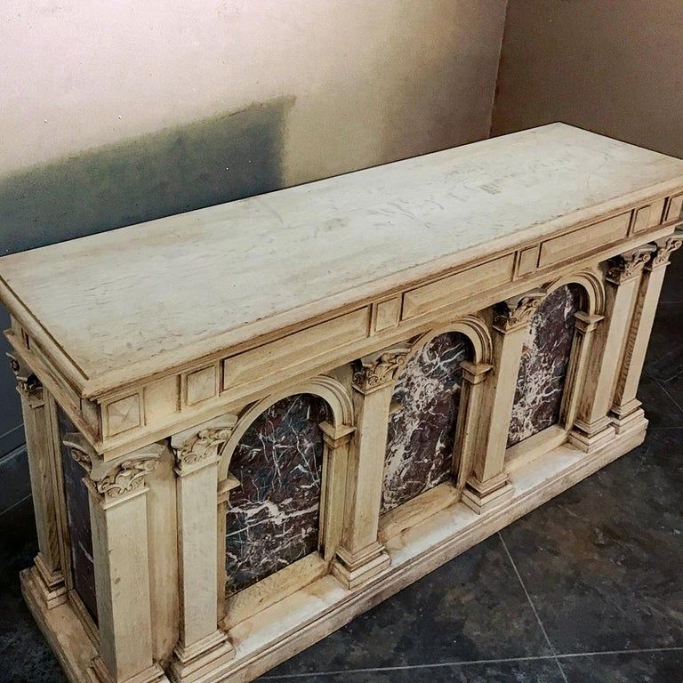 19th Century Neoclassical Store Counter, Bar with Marble Inserts For Sale 2