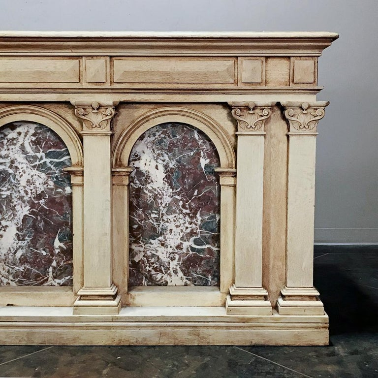 French 19th Century Neoclassical Store Counter, Bar with Marble Inserts For Sale