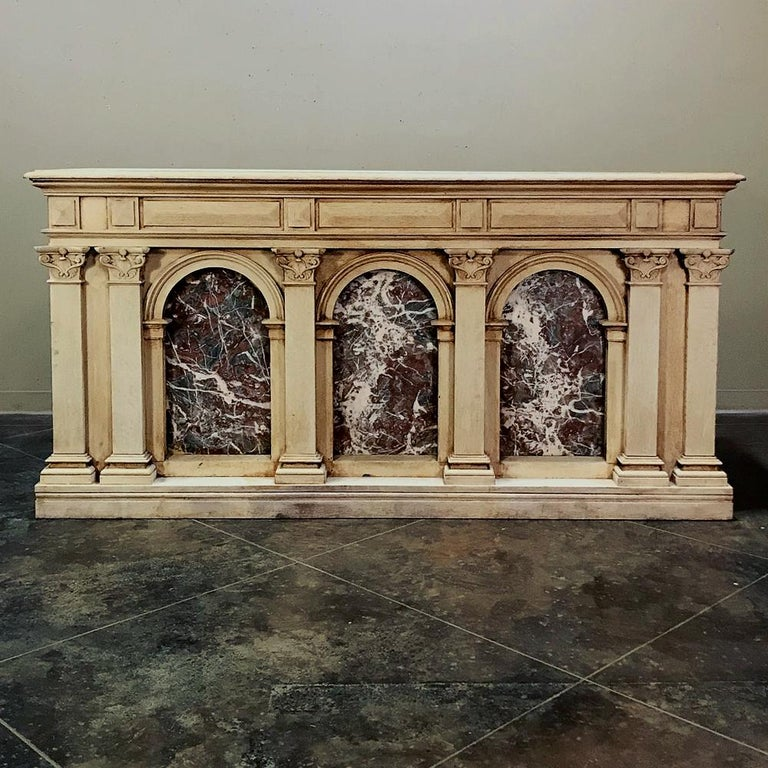 Hand-Carved 19th Century Neoclassical Store Counter, Bar with Marble Inserts For Sale