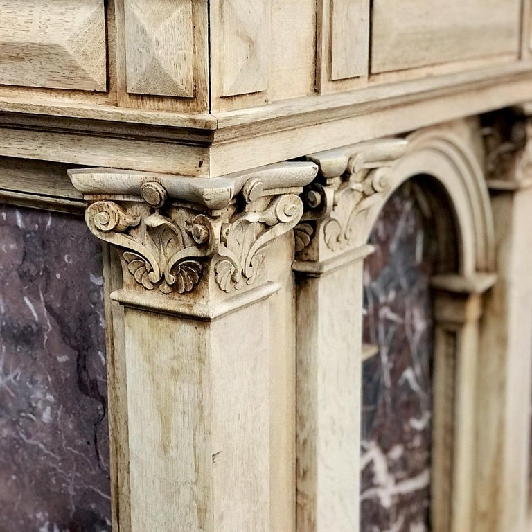 19th Century Neoclassical Store Counter, Bar with Marble Inserts In Good Condition For Sale In Dallas, TX
