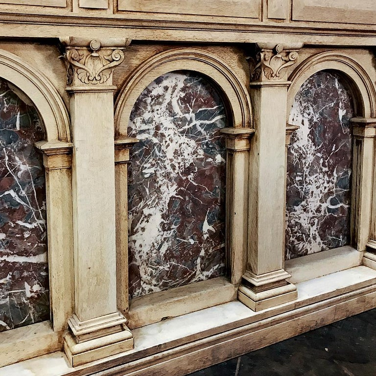 Late 19th Century 19th Century Neoclassical Store Counter, Bar with Marble Inserts For Sale
