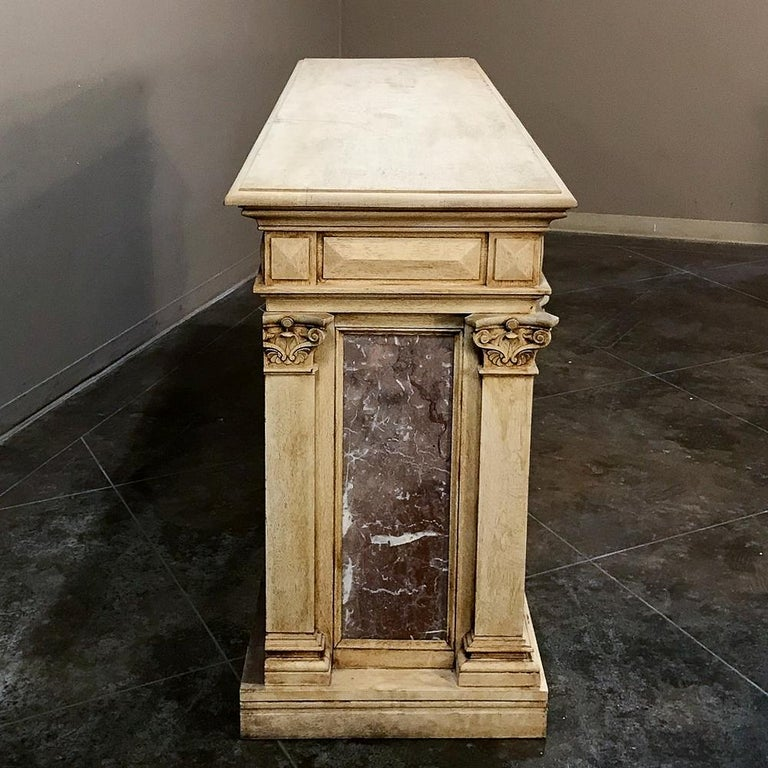 Griotte Marble 19th Century Neoclassical Store Counter, Bar with Marble Inserts For Sale