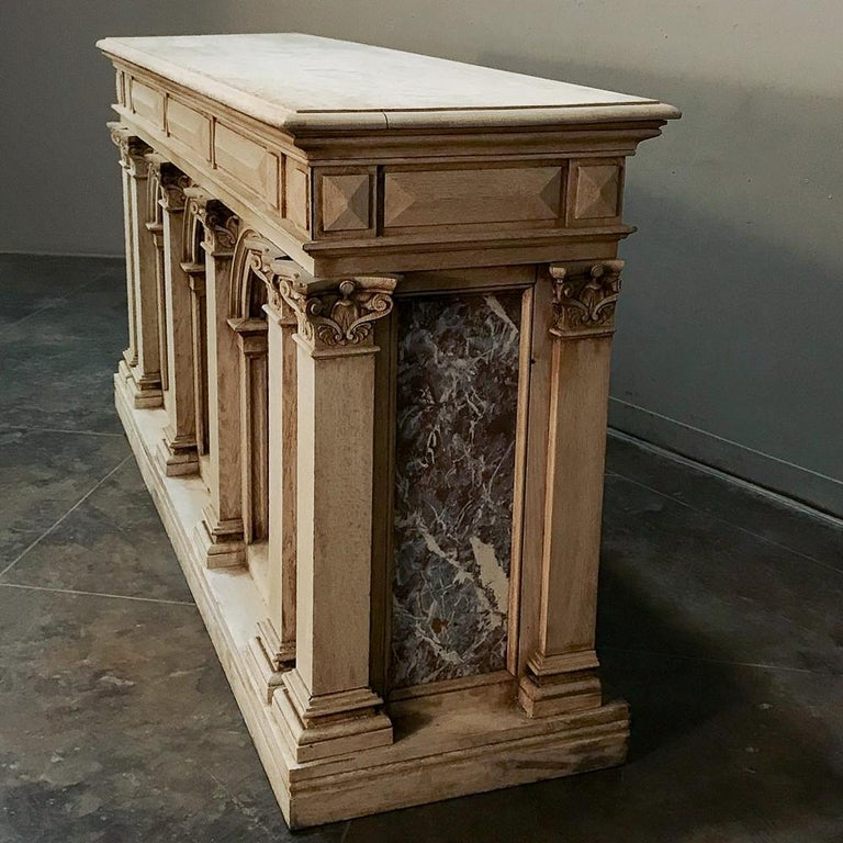 19th Century Neoclassical Store Counter, Bar with Marble Inserts For Sale 1