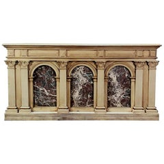 19th Century Neoclassical Store Counter, Bar with Marble Inserts