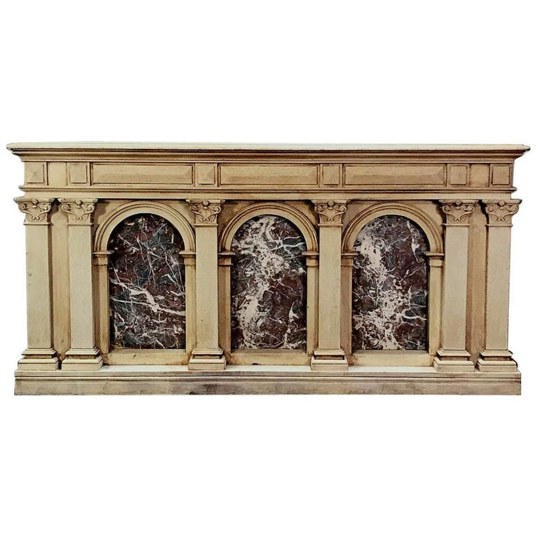 19th Century Neoclassical Store Counter, Bar with Marble Inserts For Sale