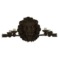 19th Century Neoclassical Style Bronze Lion Sconce