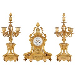19th Century Neoclassical Style Gilt Bronze Clock Set by Picard
