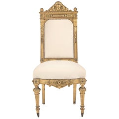 19th Century Neoclassical Style Giltwood Hall Chair