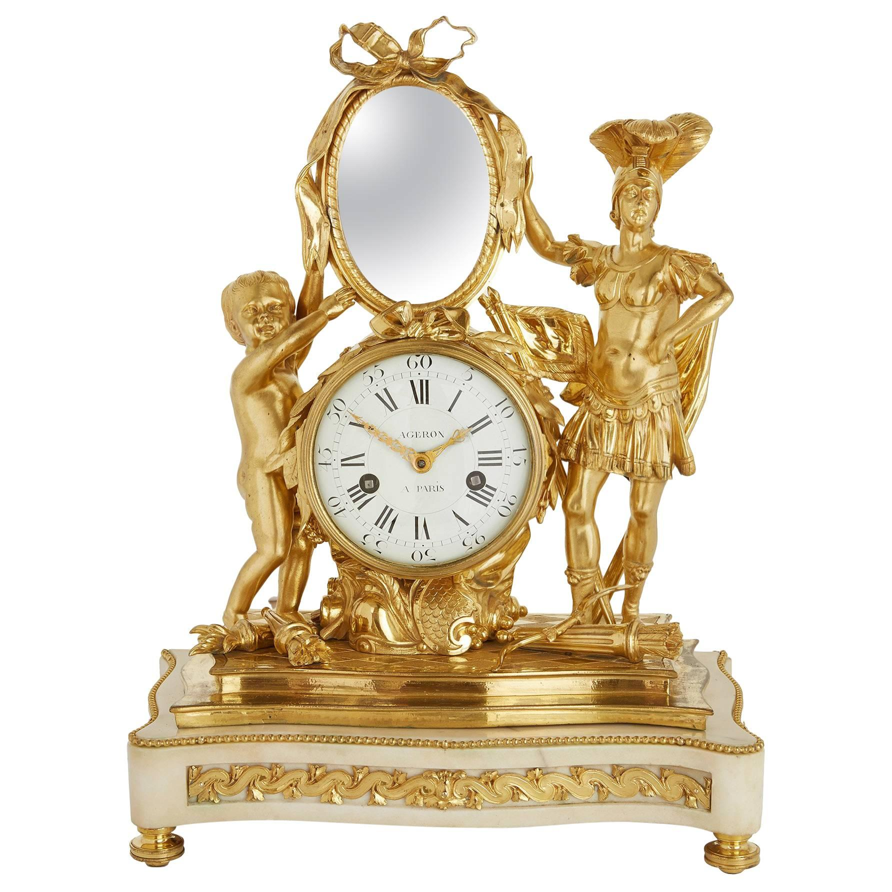 19th Century Neoclassical Style Ormolu and Marble Mantel Clock