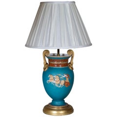 19th Century Neoclassical Turquoise Vase Lamp after a Design by Thomas Hope