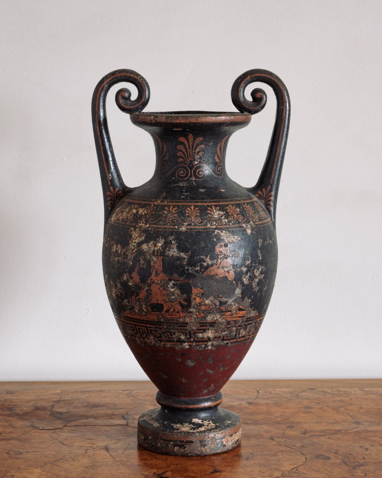 Fine 19th century neoclassical cast iron vase with a mythological motif, circa 1850, Denmark.