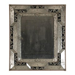 19th Century Neoclassical Venetian Style Silver and Black Wall Mirror