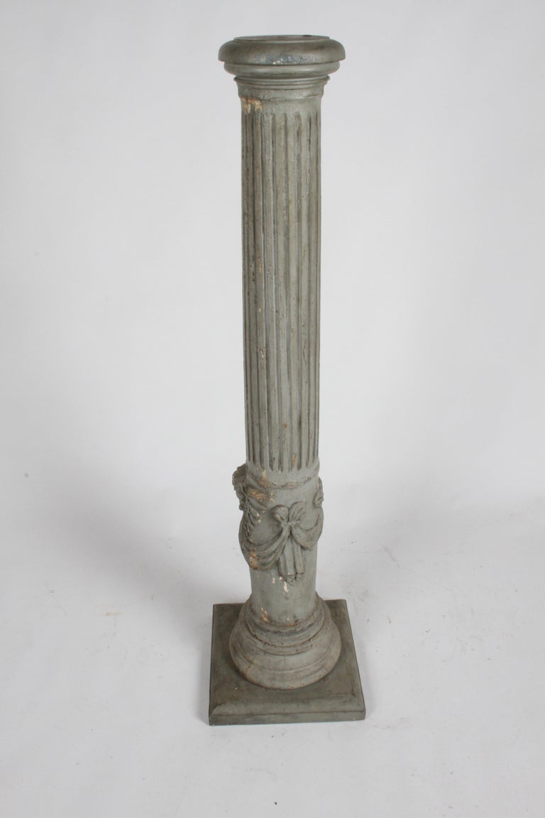 19th Century Neoclassical Wood Fluted Column with Carved Winged Angel Gray Paint For Sale 8