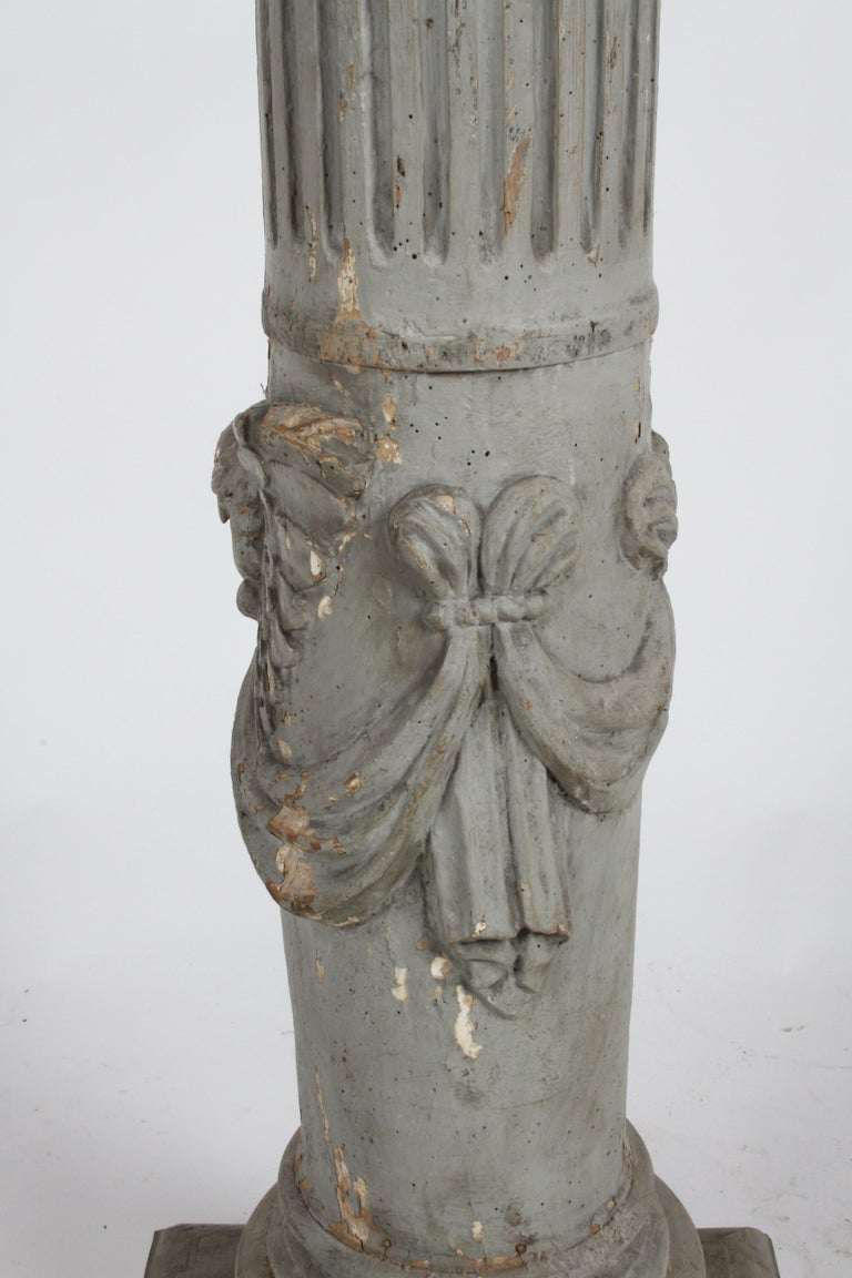19th Century Neoclassical Wood Fluted Column with Carved Winged Angel Gray Paint For Sale 9
