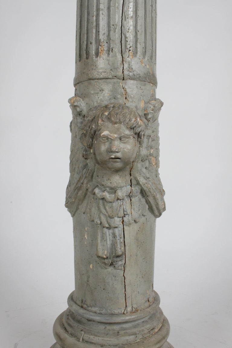 Italian 19th Century Neoclassical Wood Fluted Column with Carved Winged Angel Gray Paint For Sale