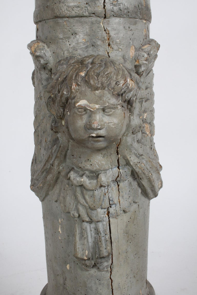 Hand-Carved 19th Century Neoclassical Wood Fluted Column with Carved Winged Angel Gray Paint For Sale