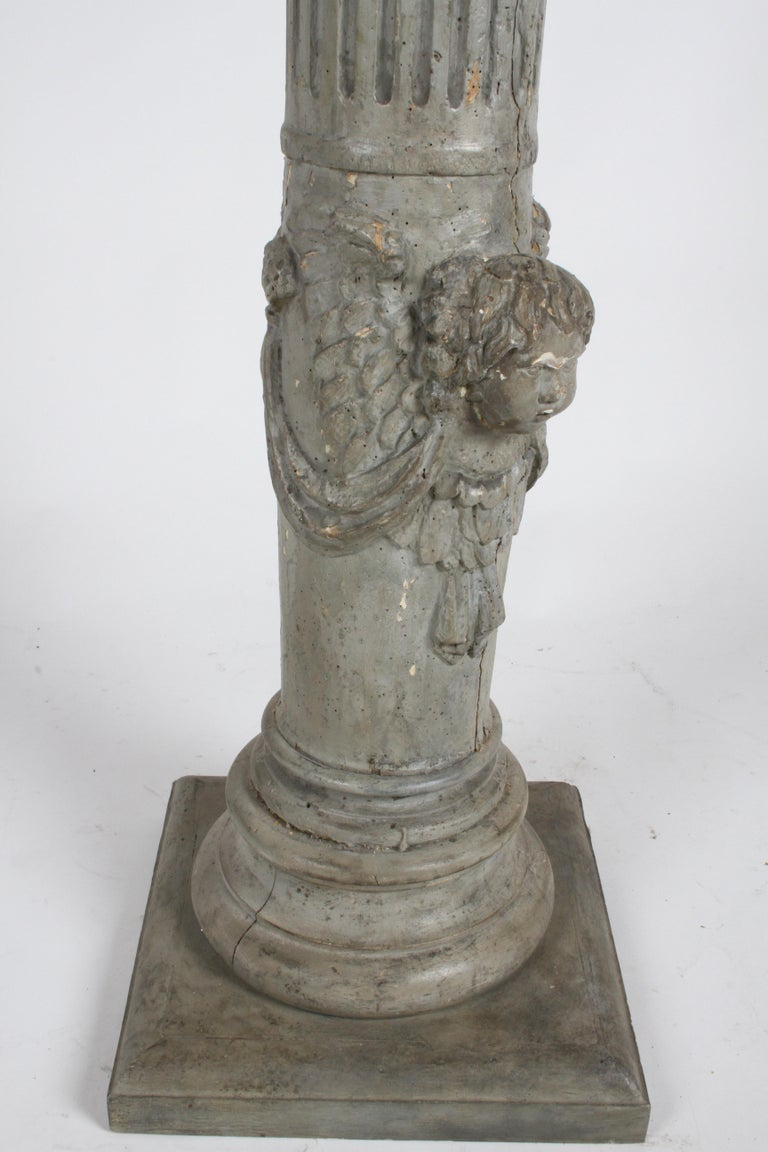 19th Century Neoclassical Wood Fluted Column with Carved Winged Angel Gray Paint For Sale 3