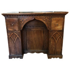 19th Century Neogothic Fruitwood Kneehole Desk