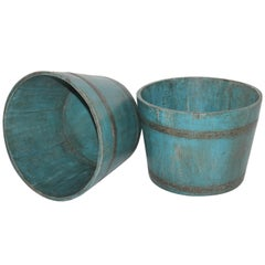 19th Century New England Blue Painted Buckets / Planters, Pair