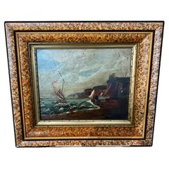 19th Century New England Folk Art Reverse Painted Seascape