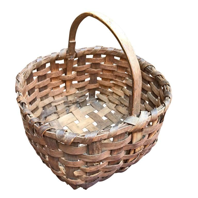 Primitive 19th Century New England Gathering Basket For Sale