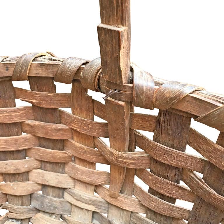 Oak 19th Century New England Gathering Basket For Sale