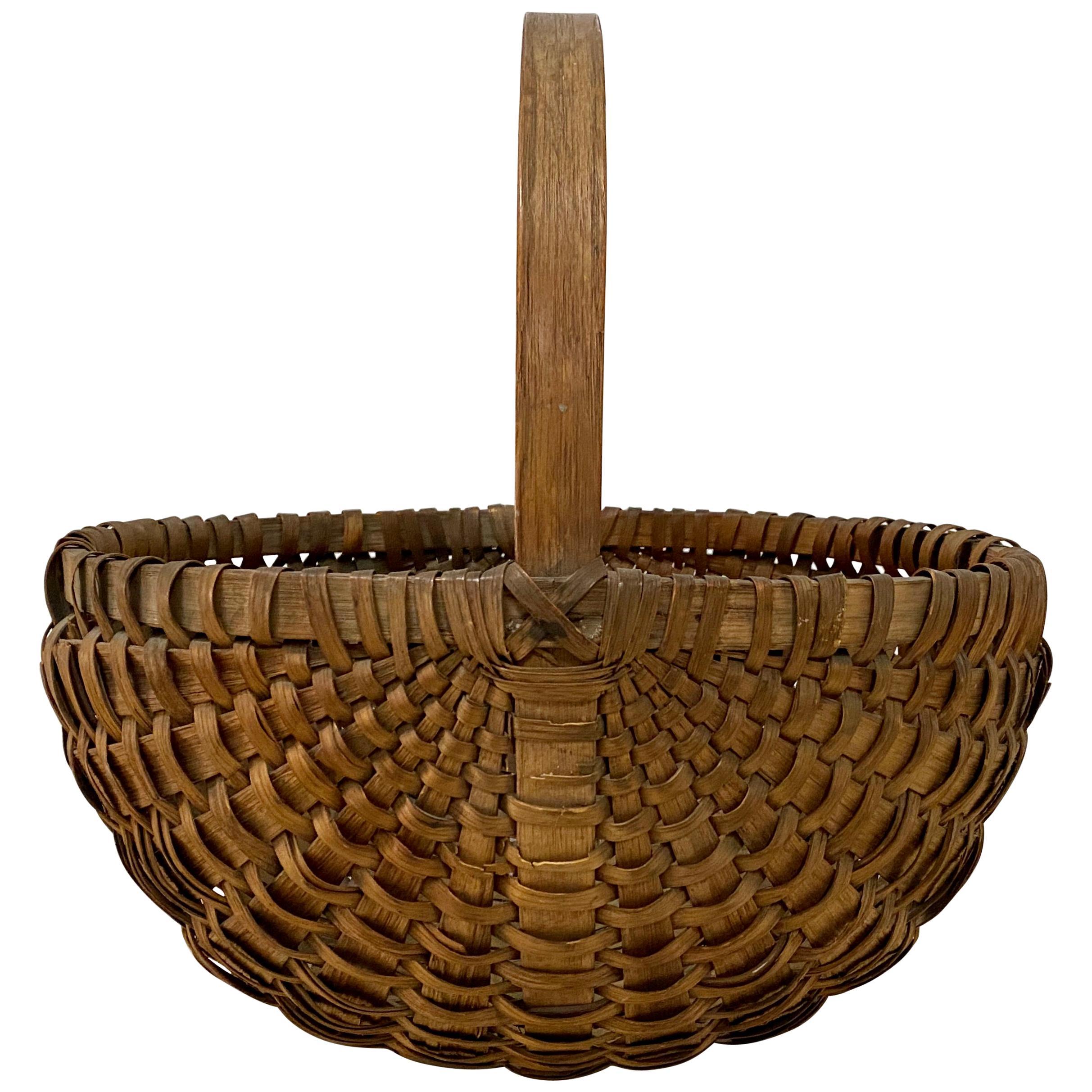 19th Century New England Splint Oak Basket