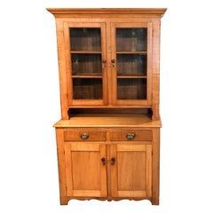 19th Century New England Two Part Tiger Maple Cupboard or Hutch