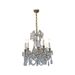19th Century Nine-Light Crystal and Bronze Chandelier