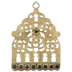 19th Century North-African Brass Hanukkah Lamp Menorah