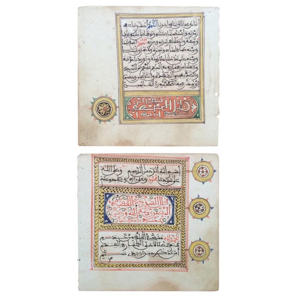 19th Century North African Illuminated Calligraphy Manuscript Leaves Set of 10