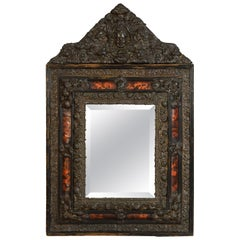 19th Century, Northern Europe Embossed and Burnished Metal Mirror
