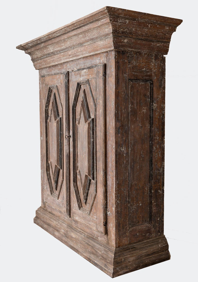 Hand-Crafted 19th Century Northern European Baroque-Style Rustic Carved Armoire Cabinet