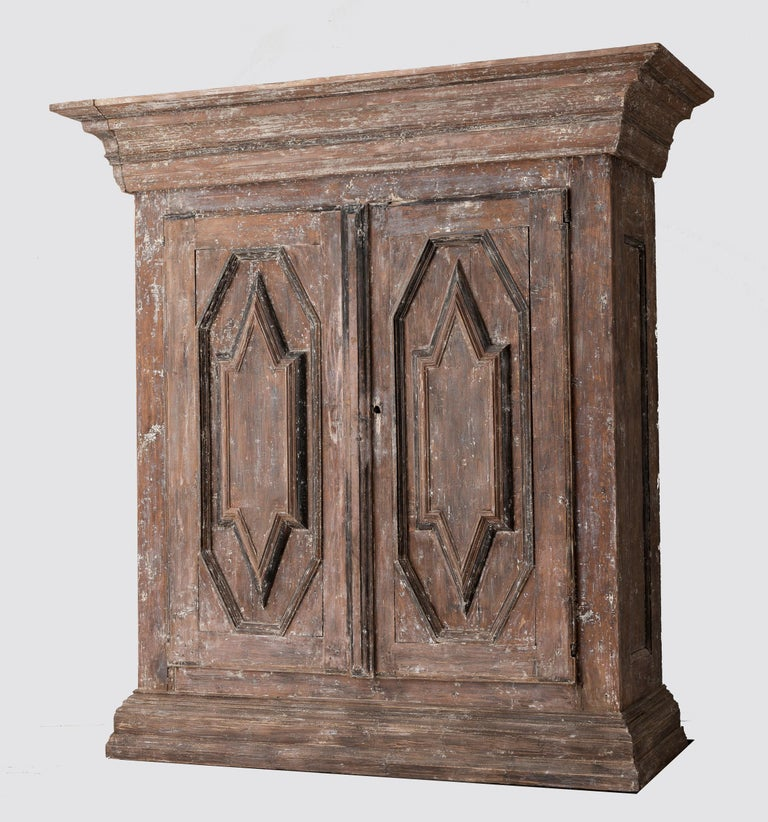19th Century Northern European Baroque-Style Rustic Carved Armoire Cabinet In Good Condition In Wichita, KS