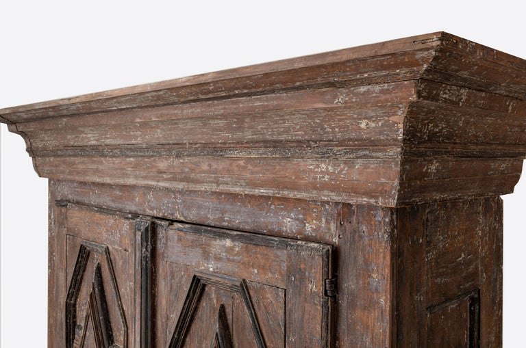 Wood 19th Century Northern European Baroque-Style Rustic Carved Armoire Cabinet