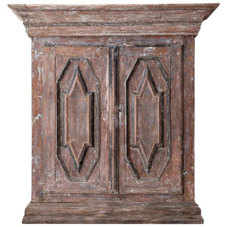 19th Century Northern European Baroque-Style Rustic Carved Armoire Cabinet