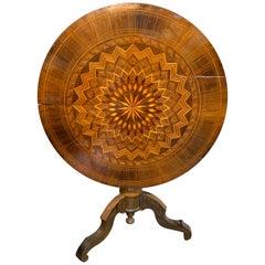 19th Century Northern Italian Inlaid Wood Side Table