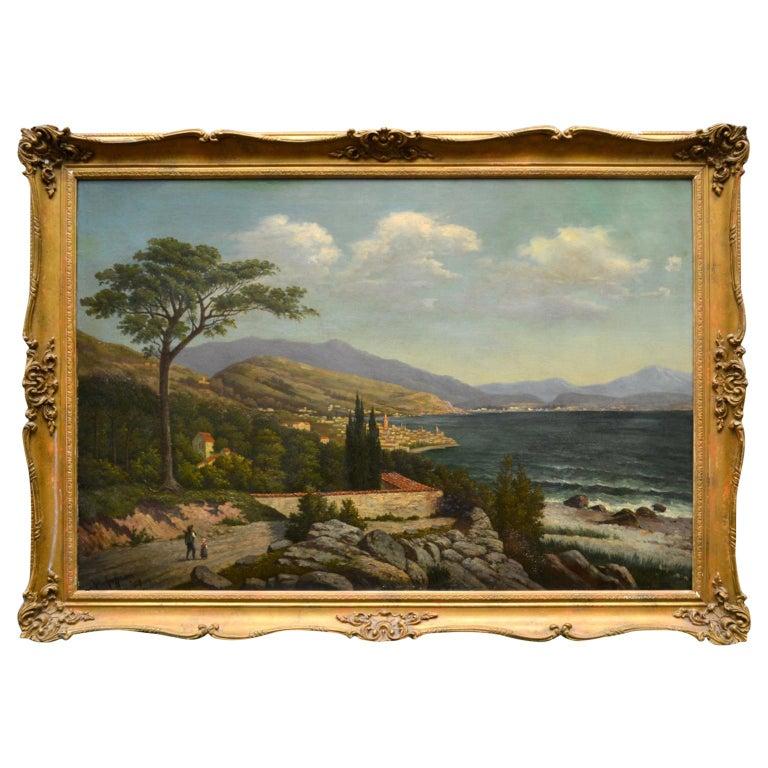 19th Century Northern Italian Landscape around Lake Como by Karl Kaufman For Sale